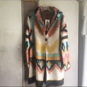 BCBG Maxsport Tribal Hooded Sweater Duster NWT